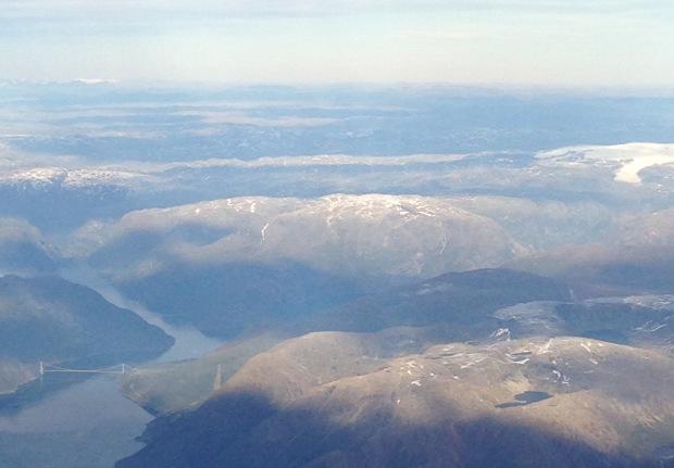 Lower left is new suspension bridge (2013) over Hardangerfjord, upper right is Jøkulen