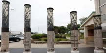 Iowa Topsoil monuments: Depths 1850-2000. Photo, Christopher Gannon